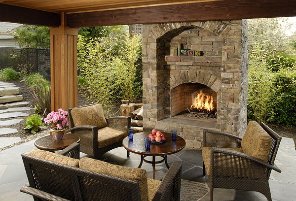 Stone-crafted fireplace